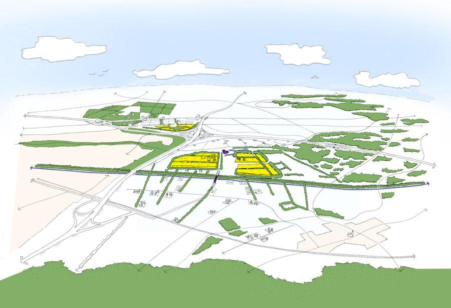 bedrijvenclusters gezien vanaf de Veluwe